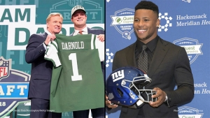 Photo (l to r): Sam Darnold with NFL Commissioner, Roger Goodell selected by the New York Jets and Saquon Barkley selected by New York Giants at NFL Draft 2018 on April 26, 2018