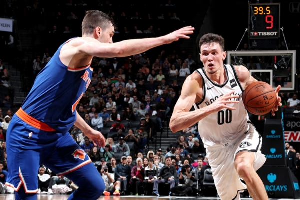 Brooklyn Nets rookie Rodions Kurucs playing in his first NBA game against the Nets crosstown rivals, the New York Knicks.